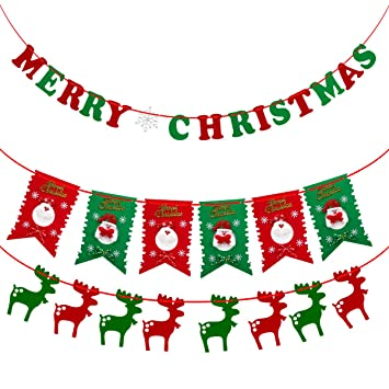 christmas hanging banners sets for xmas party home decoration tree garland fireplace photo