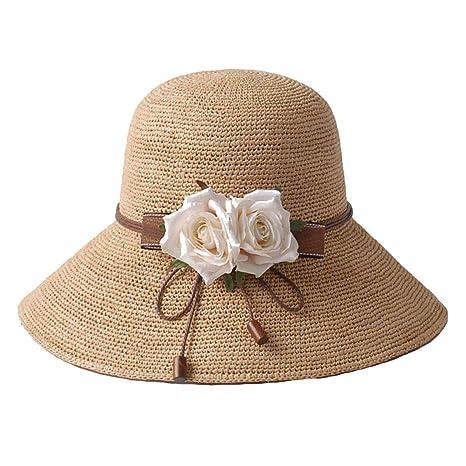 HhGold Sombrero de Paja de Rafi del Verano Sombrero del Sol Sombrero de  Playa Sombrero pequeño 9ed4c0ca92c