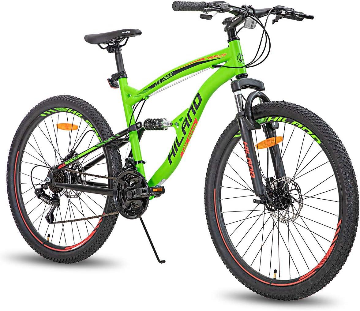 Hiland Bicicleta de montaña de 26 pulgadas con doble suspensión de 21 velocidades, bicicleta de montaña para hombre, 45,7 cm