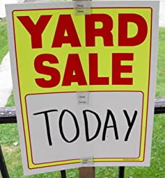 amazon com yard sale sign kit with pricing stickers and change apron a504y kitchen dining