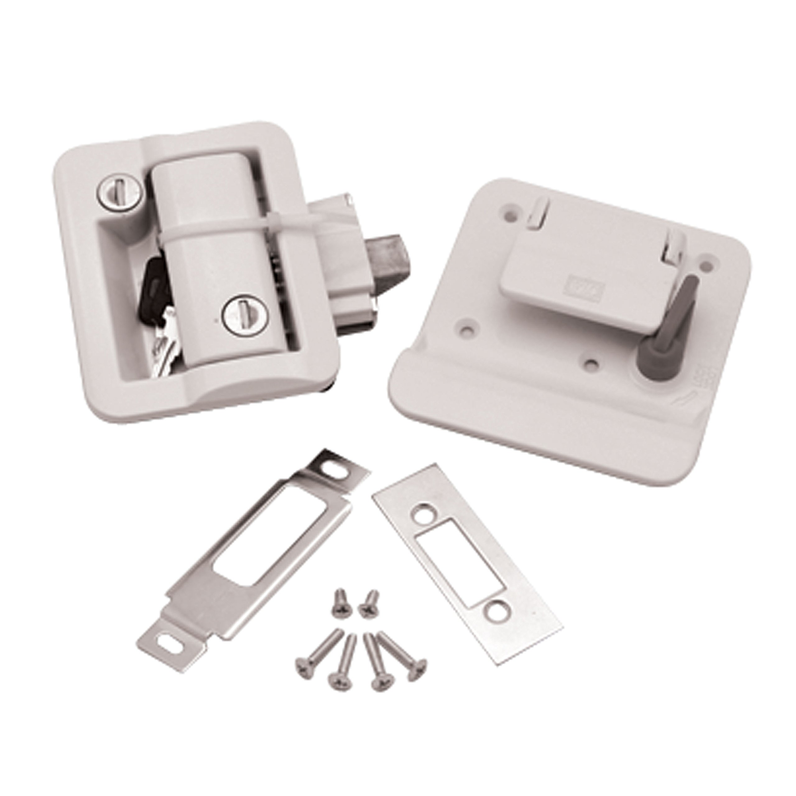 Fastec Industrial 43610-09 FIC Travel Trailer Lock with Deadbolt - White
