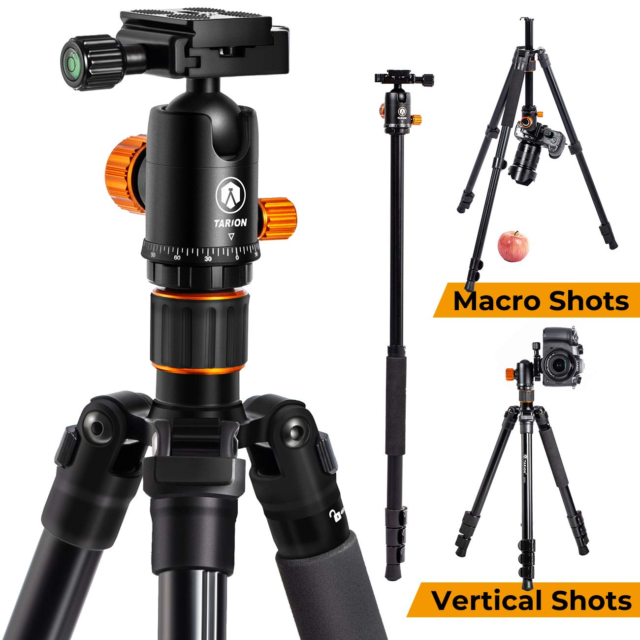 TARION Camera Tripod Monopod 61in with Panorama Ball Head Aluminium Travel Tripod for DSLR Mirrorless Cameras Support Macro Shots Counter Weight 13lb Payload Lightweight 16.9'' Foldable Size