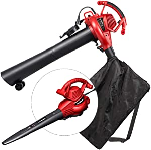 LawnMaster Red Edition BV1210E 1201 Electric Blower Vacuum Mulcher 12 Amp Variable Speed with Metal Impeller 240 MPH 380 CFM 16:1 Mulch Ratio