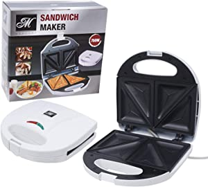 Mercury Sandwich Maker and Toaster with Non-Stick Surface, White (46781)
