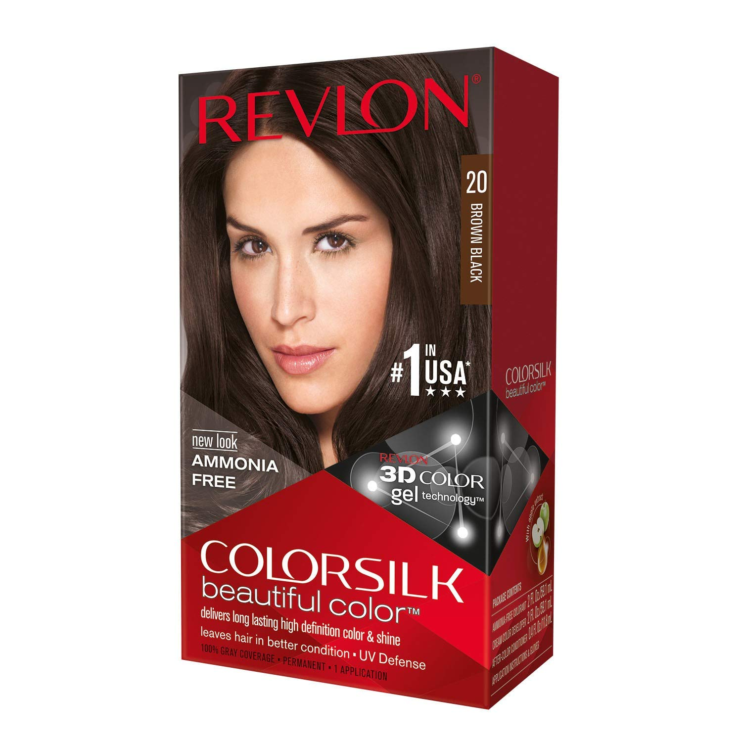 Revlon ColorSilk Hair Color, 20 Brown Black 1 ea (Pack of 5)