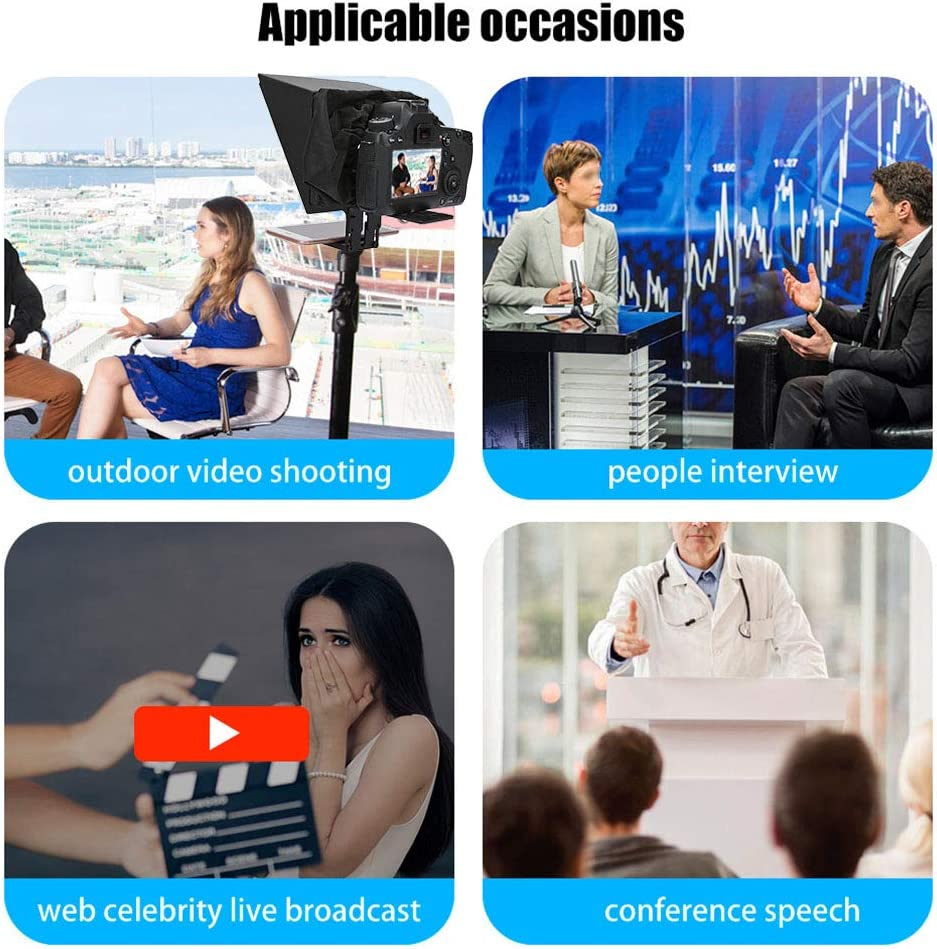 Smartphone Teleprompter Portable Teleprompter Support for DSLR Camera and 6.5 Inch Mobile Phone Shooting for Outdoor Video Shooting Interview Web Celebrity Live Broadcast Conference Speech etc.