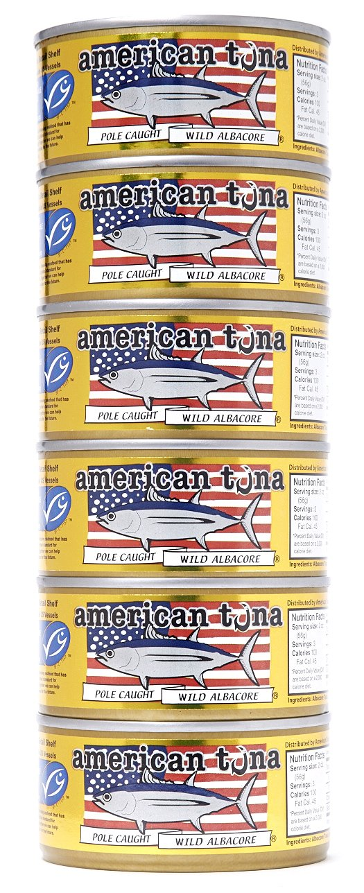 American Tuna MSC Certified Sustainable Pole & Line Caught Albacore Tuna, 6oz Can w/Sea Salt, Caught & Canned in America (6 Pack) by American Tuna (Image #1)
