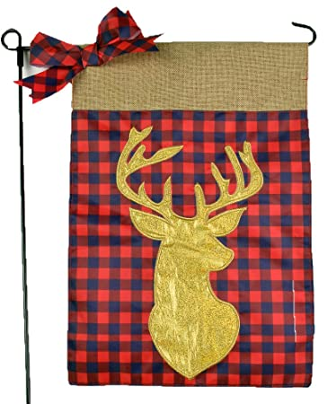 Home Garden Flags   Garden Flags Winter Red Plaid Holiday Gold Stag Deer  Buck On Burlap