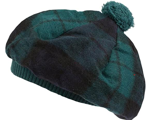 98a8166de Lambswool Scottish Tammy Hat in Black Watch Tartan Design: Amazon.co ...