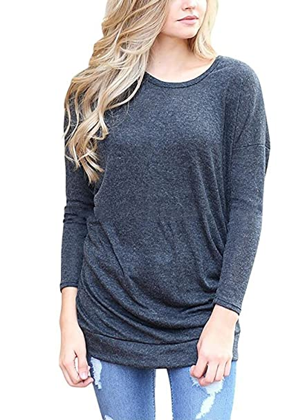 09152d929ce NICIAS Womens Long Sleeve Casual Crew Neck Loose Tunic Tops Blouse T-Shirt  Sweater(