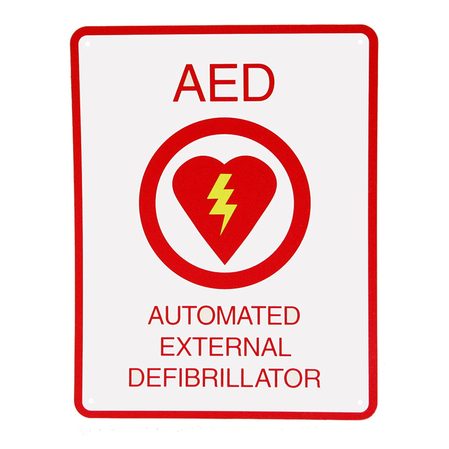 First Voice TS-151P AED Wall Sign, Flat, Plastic, 11.5' x 8.5', White/Red 11.5 x 8.5 Think Safe Inc.