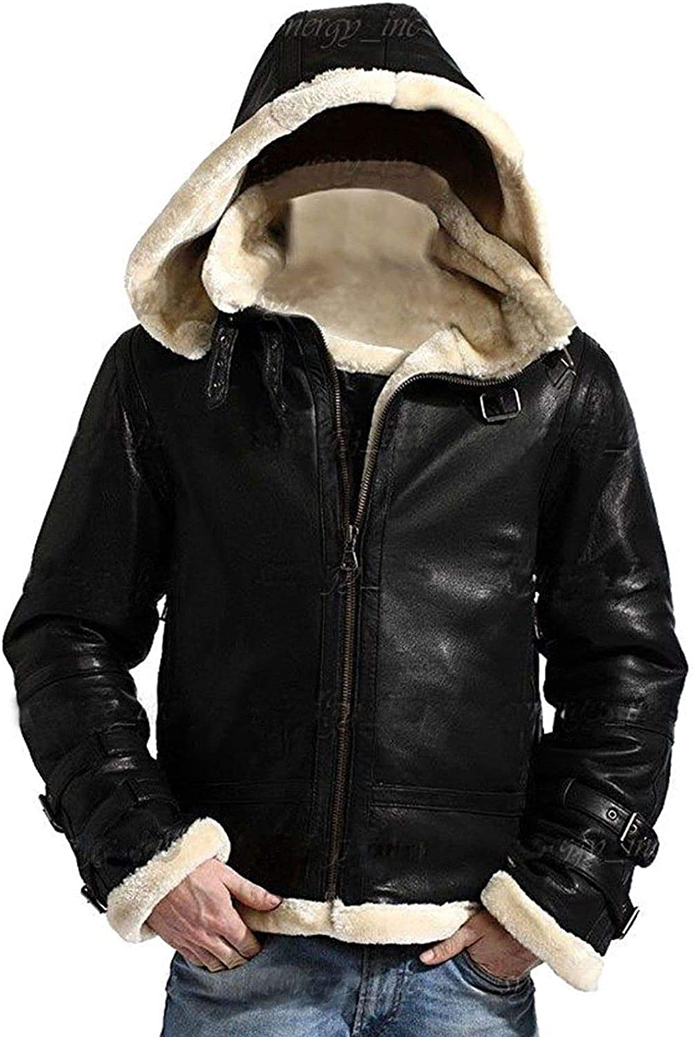 Mens A2 Bomber Shearling Artificial Fur Collar Aviator Black Real Lambskin Leather Jacket