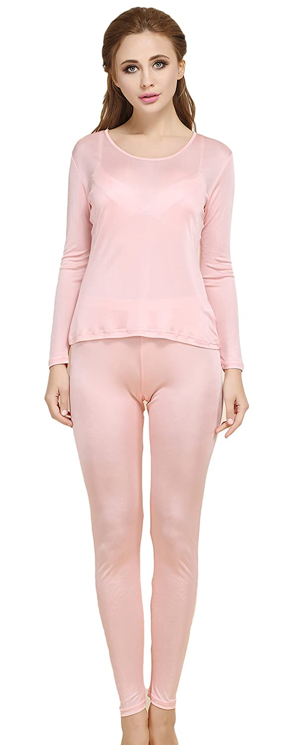Colorful Silk CLC Women's Pure Mulberry Silk Knitted Thermal Underwear Pajama Set