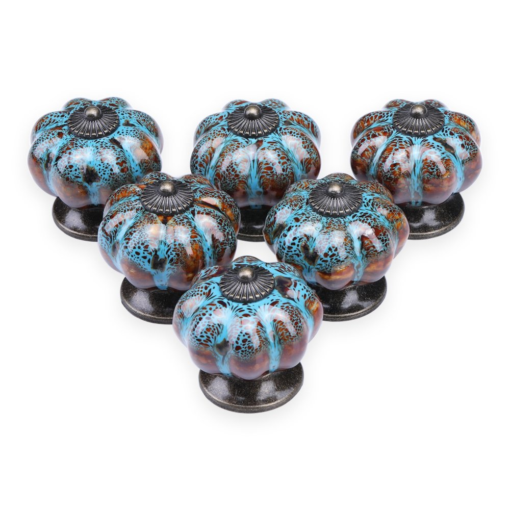 YDO Ceramic Glazed Pumpkin Knobs Classy Vintage Cabinet Door Pull Handle 6pcs (Blue)