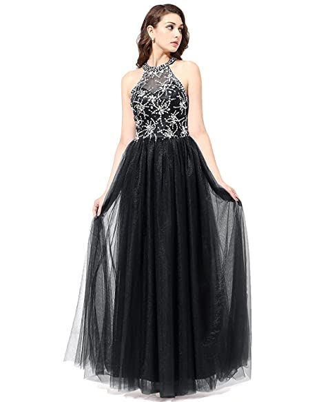 Bridesmay Long Tulle Prom Dress Halter Evening Gown Beaded Party ...