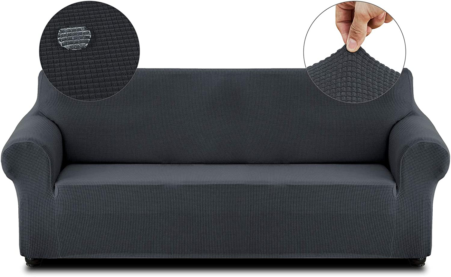 Cristgee Super Stretch Sofa Slipcover, Water Repellent Couch Cover with Elastic Bottom, Washable Anti-Slip Furniture Cover Protector with Non-Skid Foam for Kids, Pets (Sofa, Dark Gray)
