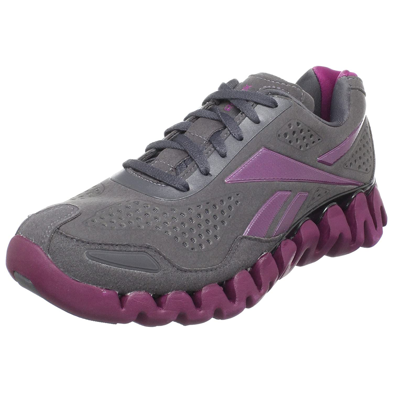 REEBOK Women's Zig Evolution Running Shoes GreyPinkWhite