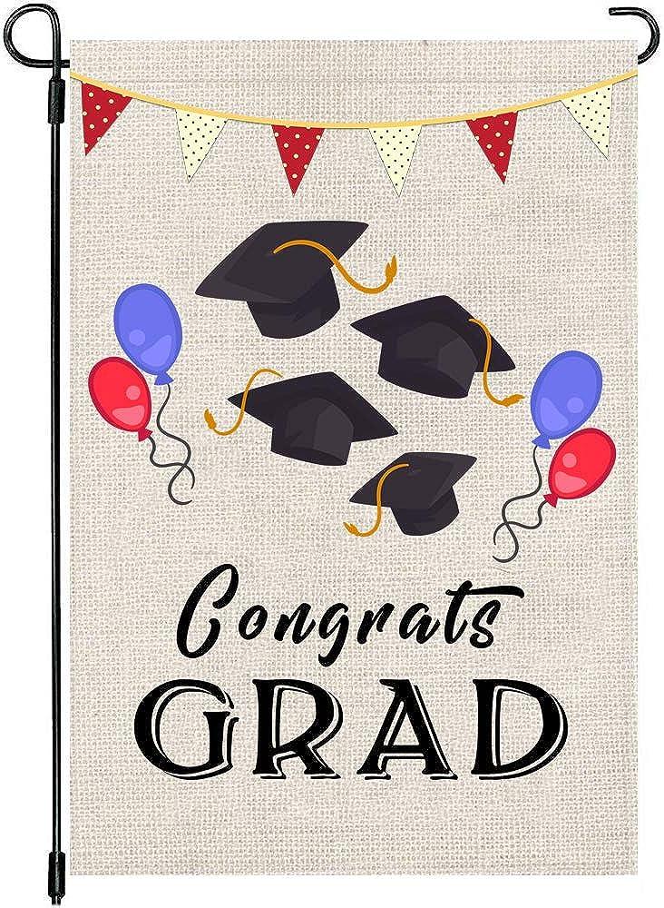 "Yangmics Direct Congrats Grad Graduation Cap Double Sided Garden Yard Flag 12"" x 18"", Graduation Season Summer Holiday Decorative Garden Flag Banner for Outdoor Home Decor Party"