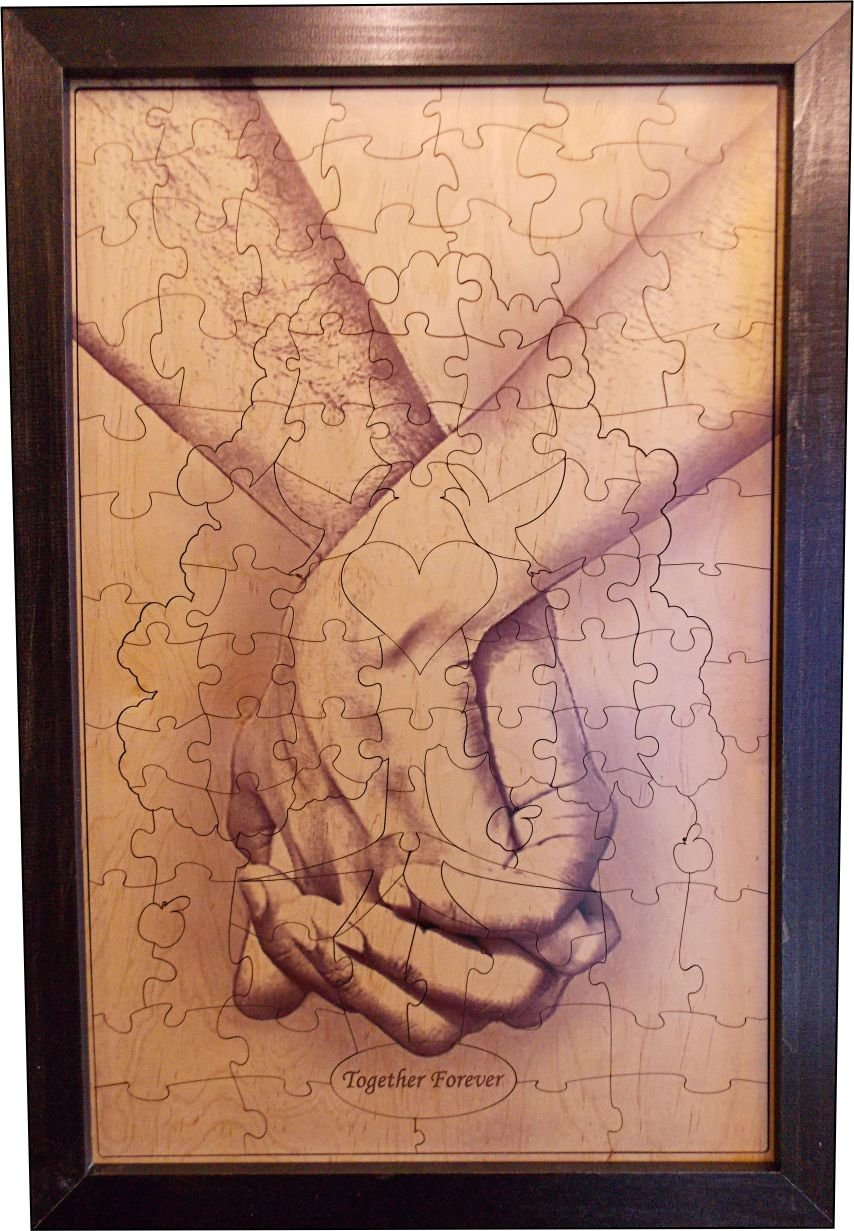 Wedding Guest Book Alternative Wood Puzzle ''Together Forever Tree Hand In Hand'' 18x27 Medium 108 Piece by Together Forever Puzzle