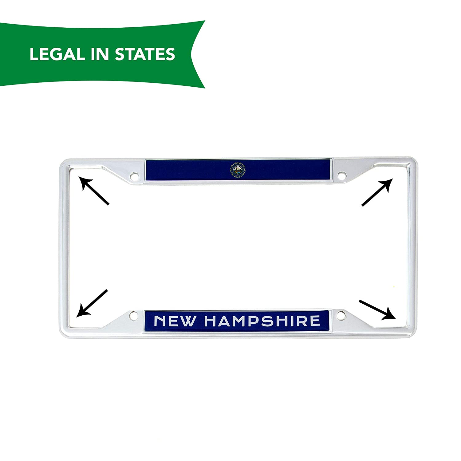 Desert Cactus State of New Hampshire Flag License Plate Frame for Front Back of Car Vehicle Truck