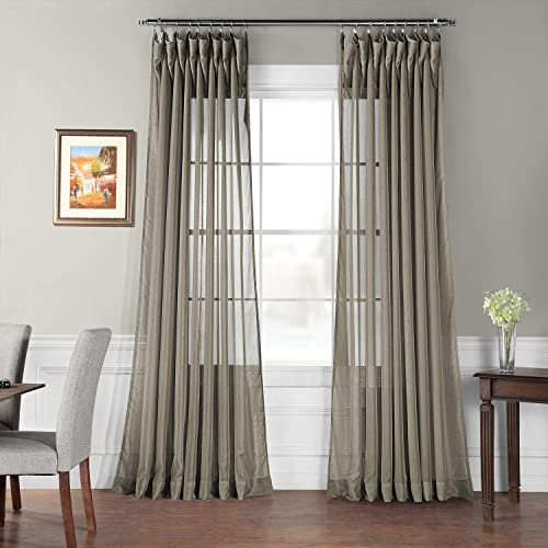 HPD Half Price Drapes SHCH-VOL6-84-DLDW Extra Wide Sheer Curtain 1 Panel , 100 X 84, Museum Grey