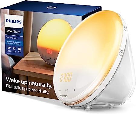 Philips SmartSleep Wake-up Light, Colored Sunrise and Sunset Simulation, 5 Natural Sounds, FM Radio & Reading Lamp, Tap Snooze, HF3520/60