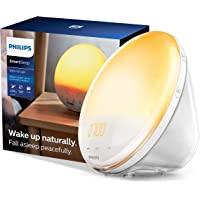 Philips SmartSleep Wake-up Light, Colored Sunrise and Sunset Simulation, 5 Natural Sounds, FM Radio & Reading Lamp, Tap…