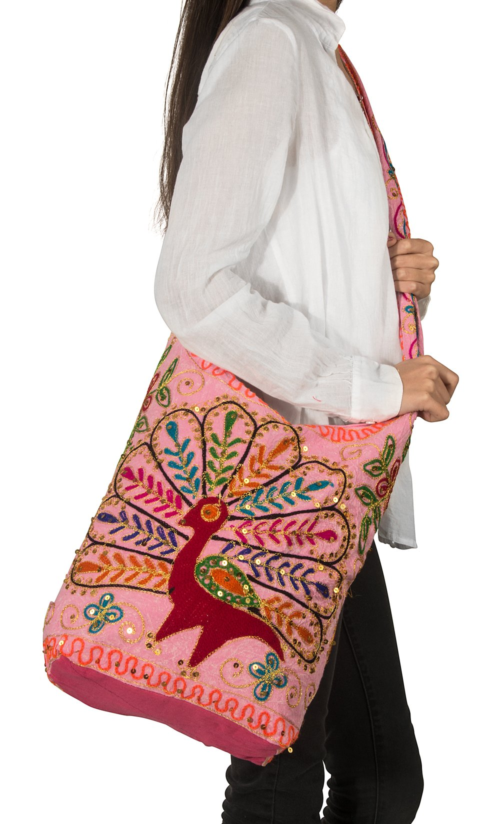 Patchwork Peacock Handmade Pink Cotton Hobo Crossbody Shoulder Bag Hipster Boho Women Sling