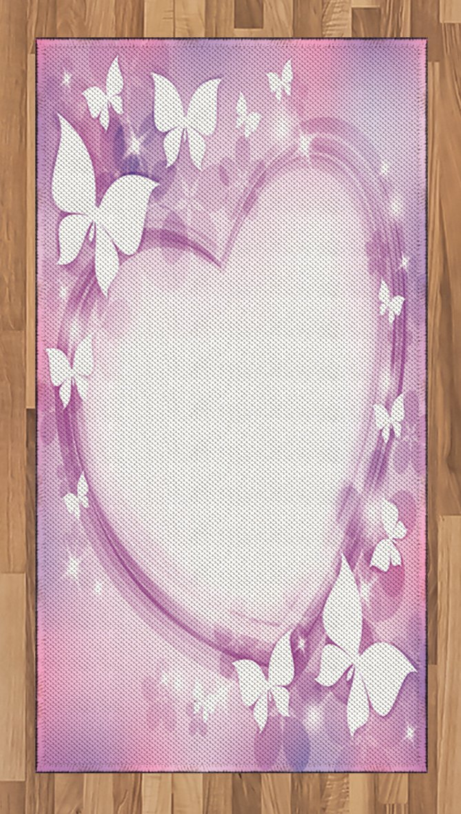 Lunarable Teen Girl Area Rug, Magical Pink Butterfly Fairy Heart Romantic LoveTheme Violet Wedding Art, Flat Woven Accent Rug for Living Room Bedroom Dining Room, 2.6 x 5 FT, Purple Pink White