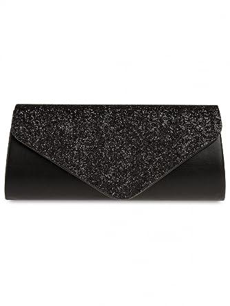 CASPAR TA332 XL Bolso de Mano Fiesta para Mujer Clutch Elegante con Lentejuelas Brillo, Color:schwarz: Amazon.es: Ropa y accesorios