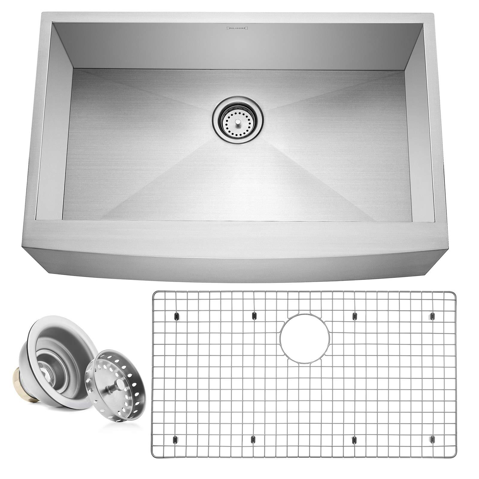 Miligore 33'' x 21'' x 10'' Deep Single Bowl Farmhouse Apron Zero Radius 16-Gauge Stainless Steel Kitchen Sink - Includes Drain/Grid