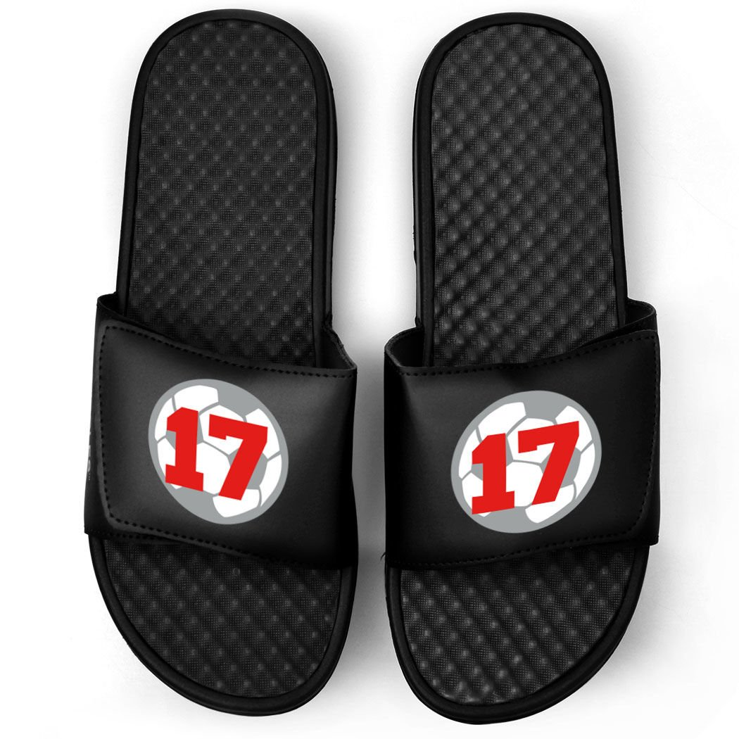 Customized Soccer Black Slide Sandals | Soccer Ball with Number | Size M6 | RED
