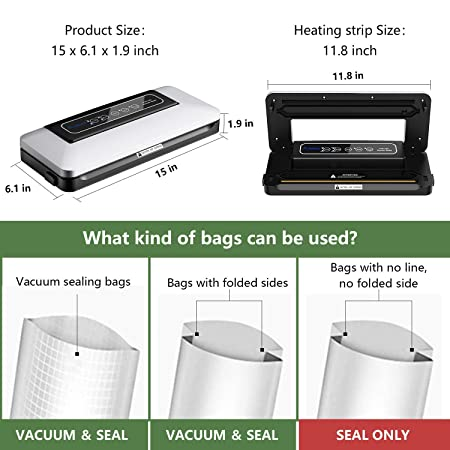 Amazon.com: Aobosi - Sellador de vacío automático con rollo ...