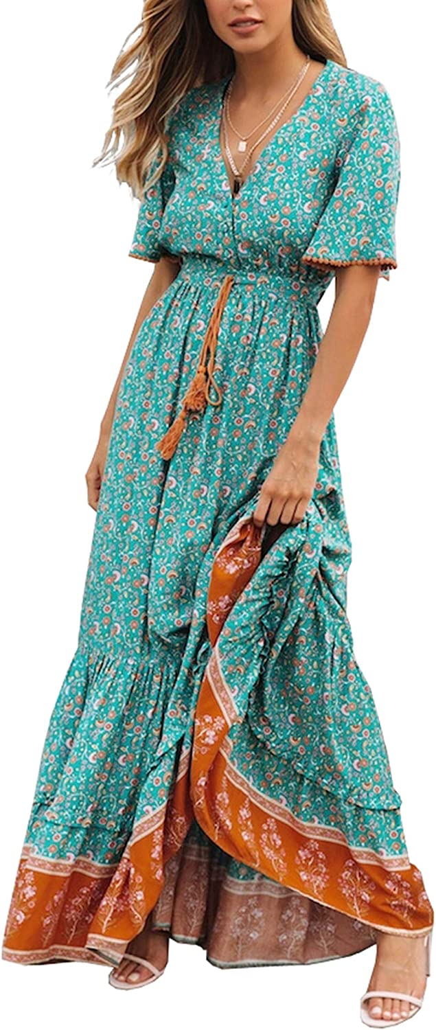 Cottagecore Dresses Aesthetic, Granny, Vintage R.Vivimos Womens Summer Cotton Short Sleeve V Neck Floral Print Casual Bohemian Midi Dresses $33.99 AT vintagedancer.com