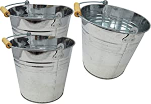 """Large 2 Gallon Metal Bucket (3 Pack) Pail Tins Silver W/Wood Handle for Gifts Basket, Ice, Beer or Candy – 10.5"""" x 9"""" x 7.5"""""""