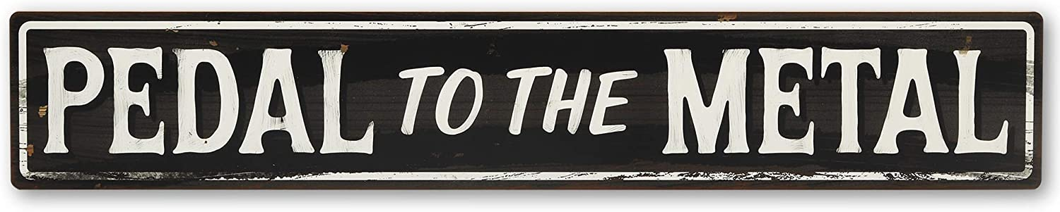 Open Road Brands Pedal to The Metal Wood Sign for Garage, Man Cave or Auto Shop - Large 30 Inch x 5 Inch Race Car Wall Décor