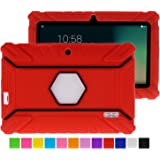 Turpro Kids' Shockproof Silicone Case for Chromo Inc 7 inch, Alldaymall A88X, Dragon Touch Y88X Plus/Y88X, VURU A33, NPOLE 7 Inch Tablet (Red)