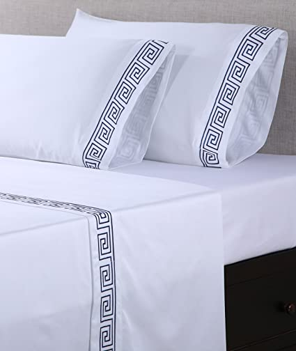 6f6d04c71bd1 Amazon.com  Affluence 600 Thread Count 100% Cotton Embroidered Sheet Sets -  Greek Key Pattern (King Sheet Set