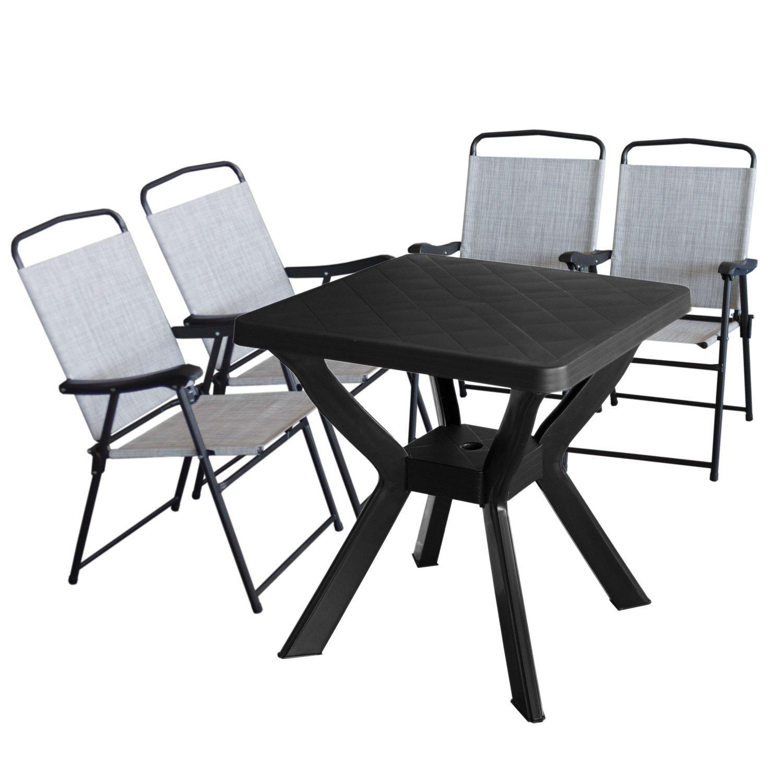 Gartentisch Reno 70x70cm Kunststoff Anthrazit 4x Campingstuhl