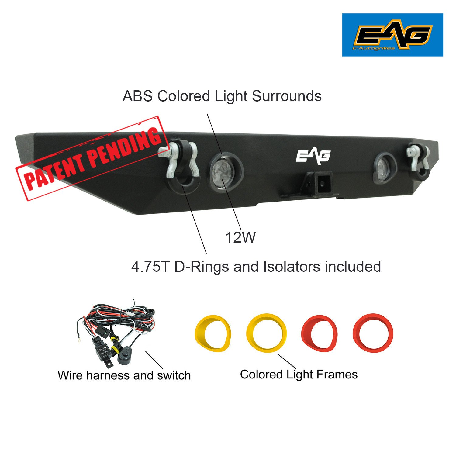 Amazon.com: EAG 07-18 Jeep Wrangler JK Rear Bumper With LED Lights and  Colored Light Frames: Automotive