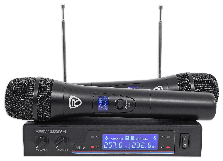 Rockville RWM1203VH VHF Wireless Dual Handheld Microphone System//Digital Display