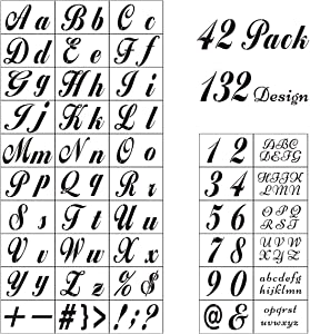 Letter Stencils for Painting on Wood - 42 Pack Alphabet Stencil Templates with Numbers and Signs, Large Reusable Plastic Stencils in 2 Fonts and 132 Designs for Wood Burning & Wall Art
