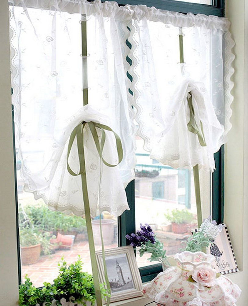 2 Packs White Ruffle Balloon Shades Embroidery Flower Window Treatments Panda Superstore PS-HOM3736251-EMILY02213