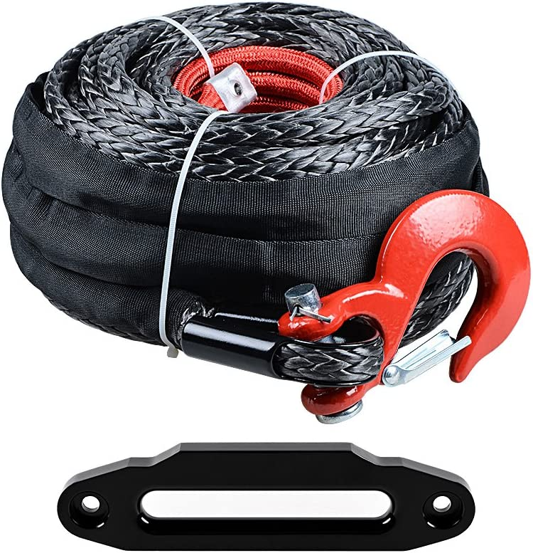 Astra-Depot Set 92ft x 1//2 SK75 UHMWPE Winch Rope Cable Red/&Black for Jeep Truck Off-Road 4x4 RED Hawse Fairlead 30x7.8cm