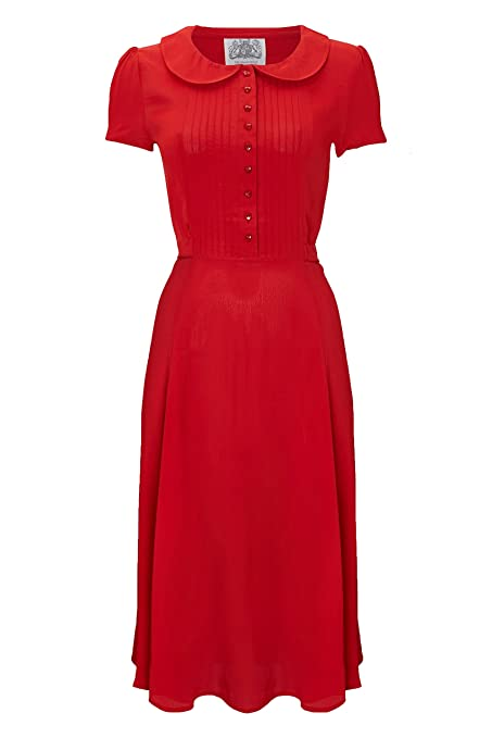 Vintage Tea Dresses, Floral Tea Dresses, Tea Length Dresses 1940s Authentic Vintage Inspired Dorothy Dress in 40s Red £79.00 AT vintagedancer.com