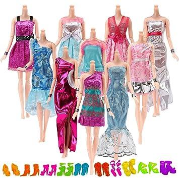 Yomon 20 Piezas Ropa y Zapatos para Muñeca Barbie -10 Piezas Vestido Fashionista Hecha a