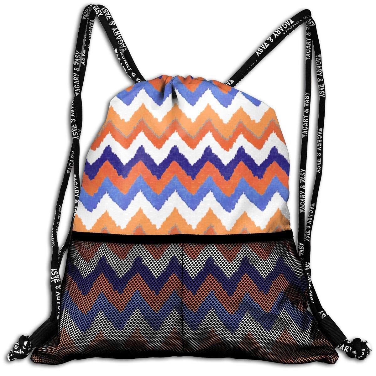Watercolor Chevron Stripe Color Durable Sport Drawstring Backpack for School Soccer Yoga
