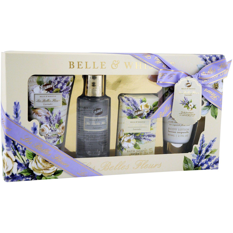 Coffret de Bain - Les Belles Fleurs - Lavande - 4 Pcs, Coffret Cadeau-Coffret de bain Gloss! BF18170B