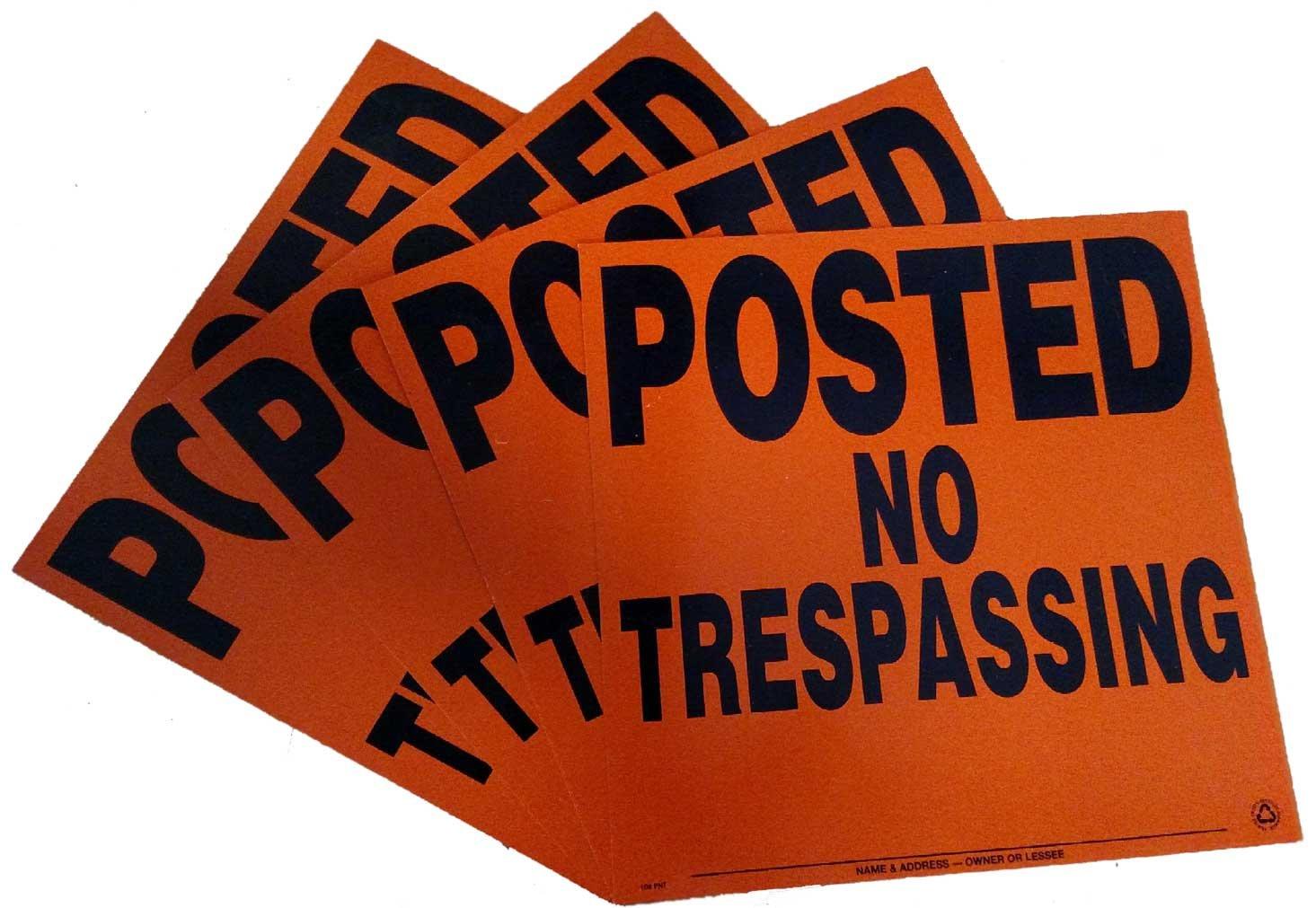 Orange Minuteman Signs 4 Pack Aluminum Posted NO TRESPASSING Sign
