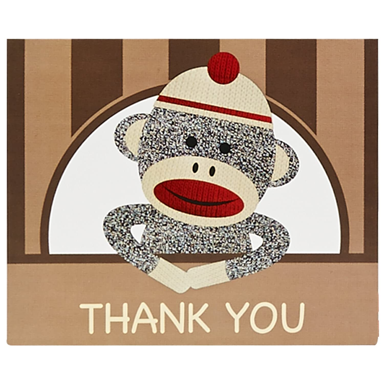 BirthdayExpress Sock Monkey Party Supplies - Thank-You Notes (8) Party Destination AX-AY-ABHI-21417